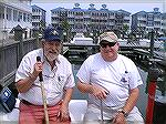 One of a kind photo of two old friends taken at the O.C. Fishing Center. Bill Burton & Capt. Bob Gower.