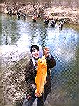 Carson Bredesen got to go trout fishing with his dad at Rocks Park in Harford County, Maryland on opening day of trout season 2013 and managed to catch this whopper of a golden rainbow on a spinner. P