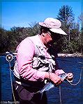 Chuck Edghill with a hickory shad caught in the Rappahannock River in Virginia. June 1988.