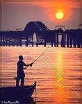 Simon Goldseker flyfishing for striped bass near the Chesapeake Bay Bridge on Kent Island side.
