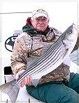 "Bob Blatchley with a ""keeper"" striped bass caught in the bay at Ocean City, Maryland during December."